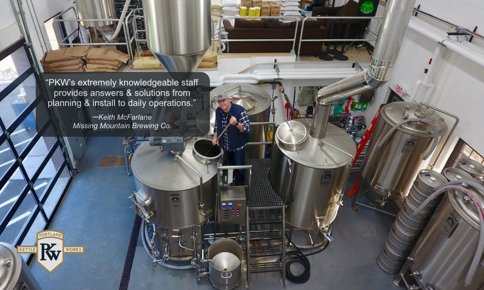 PKW Brewing Equipment at Missing Mountain Brewery with Client Testimonial