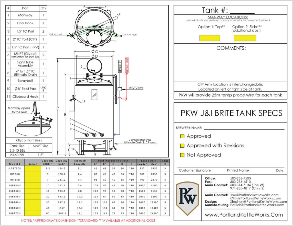 PKW Brite Tank Single Wall Spec Image