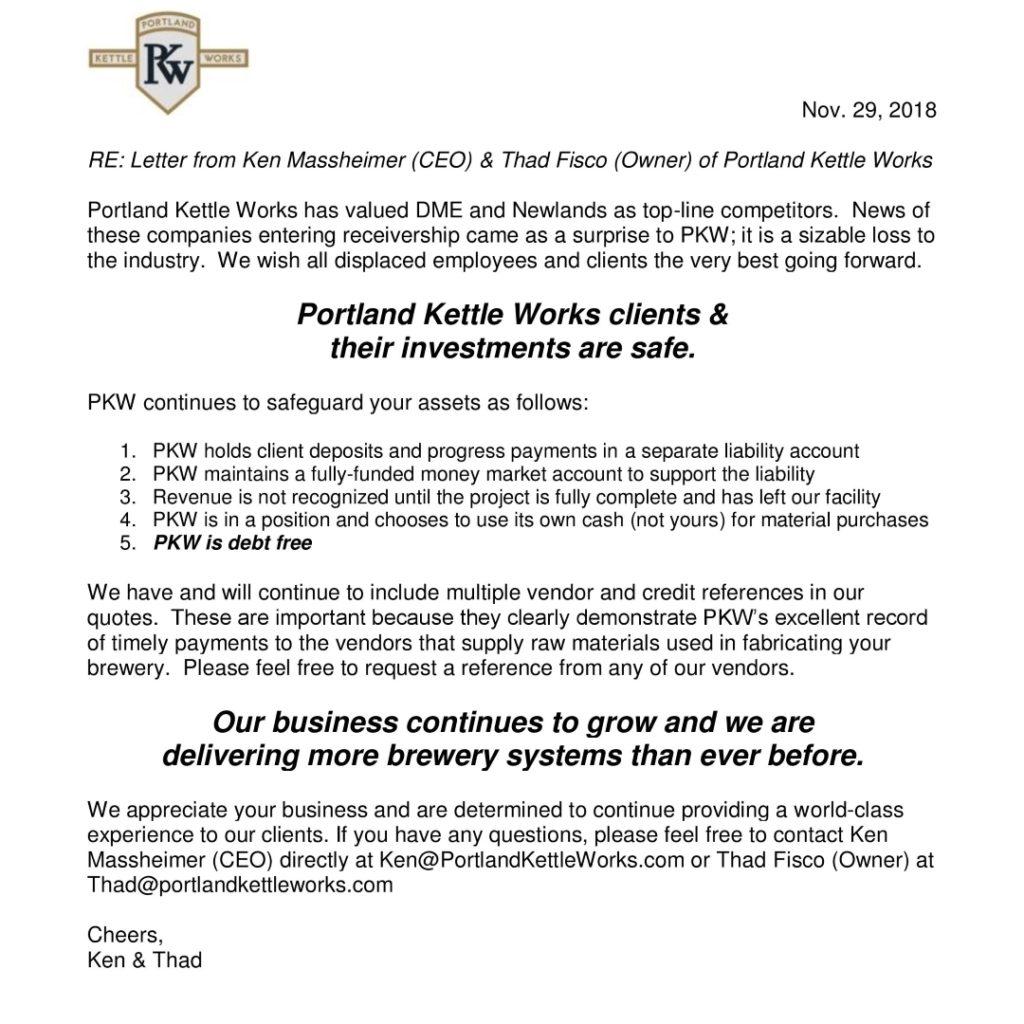 PKW Response to DME Newlands Entering Receivership