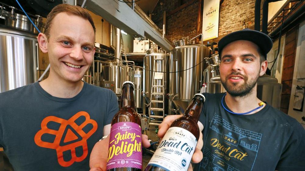 Graff Brygghus CEO & Brewmaster with their Beers